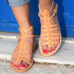 Women's Buckle Slingbacks Leatherette Flat Heel Sandals_3