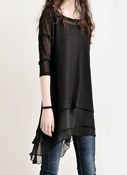 Casual Solid Hollow Out Round Neckline A-line Dress_2