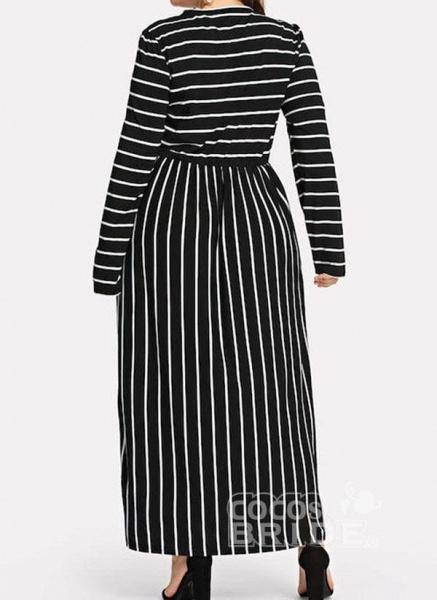 Black Plus Size Tunic Stripe Round Neckline Casual Maxi Plus Dress_2