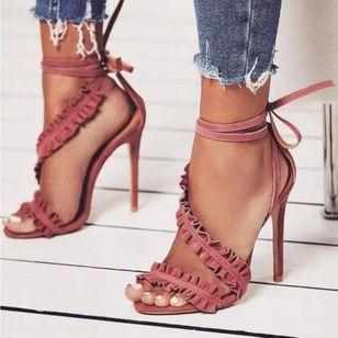 Women's Ruffles Lace-up Slingbacks Stiletto Heel Sandals_3