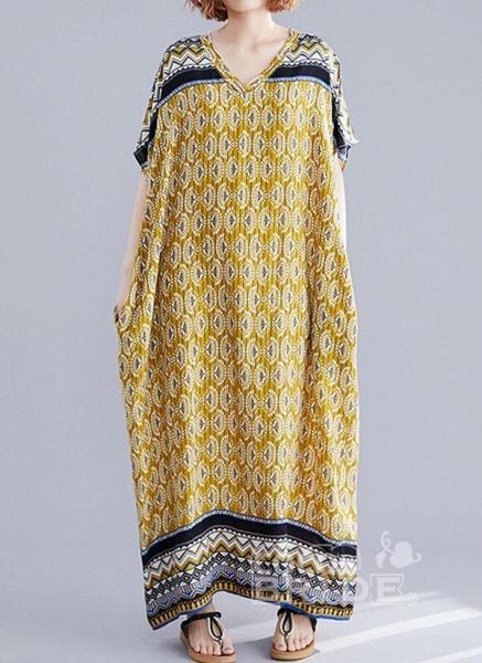 Yellow Plus Size Block V-Neckline Casual Maxi Plus Dress_6