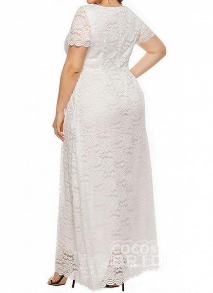 Off-white Plus Size Solid Round Neckline Casual Lace Pockets Maxi Plus Dress_3
