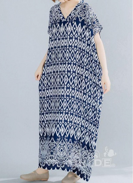 Dark Blue Plus Size Tunic Geometric V-Neckline Casual Maxi Plus Dress_2