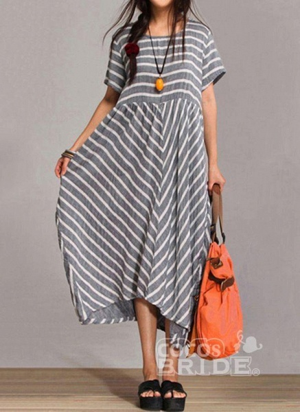 Gray Arabian Stripe Round Neckline Maxi A-line Dress_2