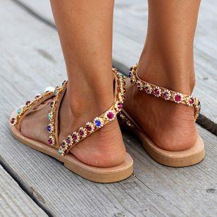 Women's Crystal Slingbacks Flat Heel Sandals_3
