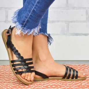 Women's Knit Round Toe Flat Heel Sandals_5