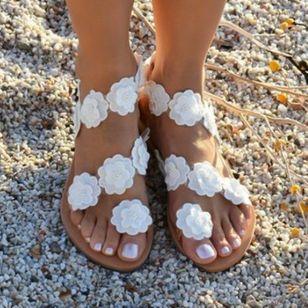 Women's Flower Flats Flat Heel Sandals_3