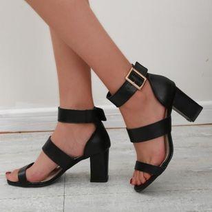 Women's Buckle Heels Chunky Heel Sandals_2
