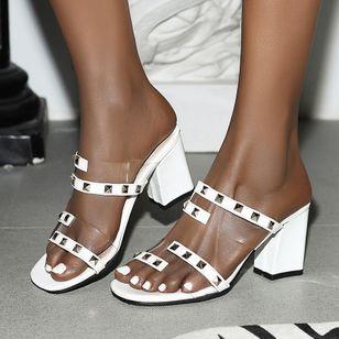 Women's Rivet Peep Toe Slingbacks Chunky Heel Sandals_4