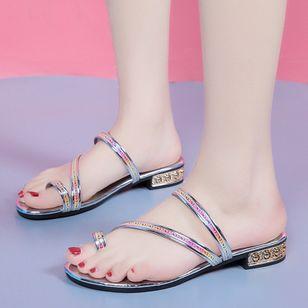 Women's Heels Sparkling Glitter Low Heel Sandals_4