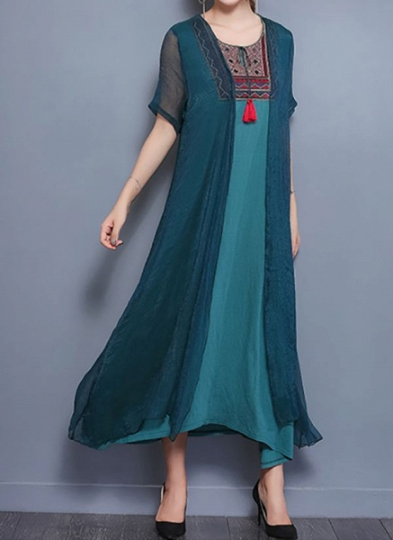 Elegant Geometric Wrap Round Neckline Shift Dress_6