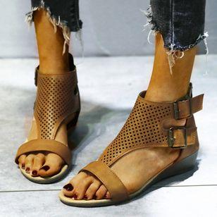 Women's Buckle Hollow-out Flats Flat Heel Sandals_8