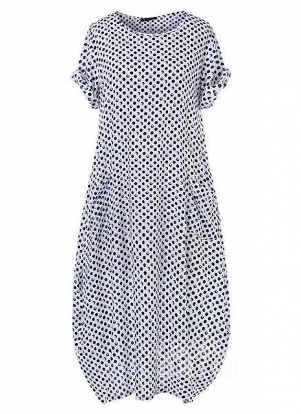 Dark Blue Tunic Polka Dot Round Neckline Casual Midi Plus Dress_2