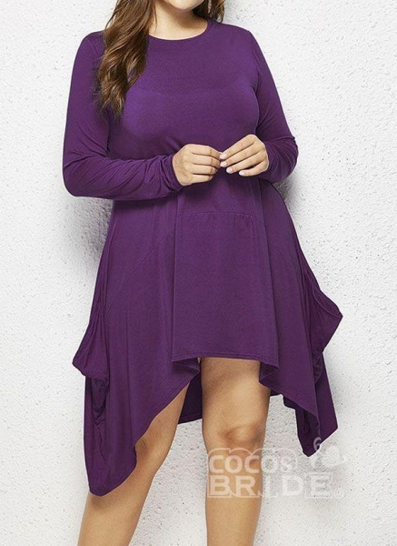 Military Green Plus Size Skater Solid Round Neckline Casual Above Knee Plus Dress_2