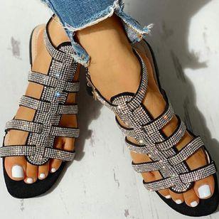 Women's Sequin Buckle Slingbacks Flat Heel Sandals_1