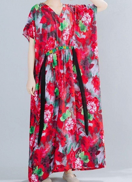 Red Plus Size Floral V-Neckline Boho Sashes Maxi Plus Dress_1