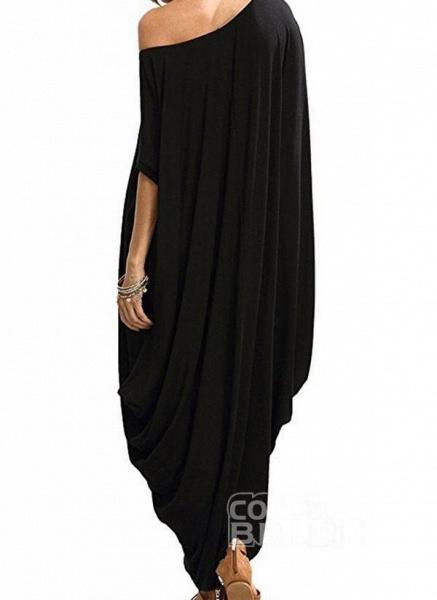 Black Plus Size Tunic Solid Round Neckline Casual Maxi Plus Dress_3