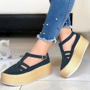 Women's Buckle Round Toe Flat Heel Sandals_3