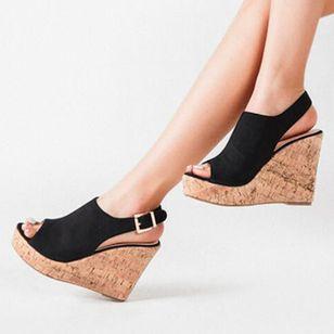 Women's Buckle Ankle Strap Peep Toe Wedge Heel Sandals_5