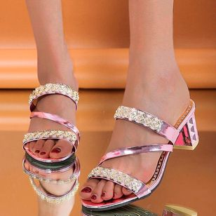Women's Crystal Slingbacks Chunky Heel Sandals_2