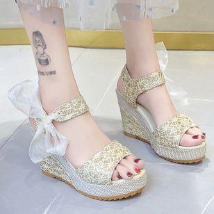 Women's Geometric Lace-up Heels Cloth Wedge Heel Sandals_6