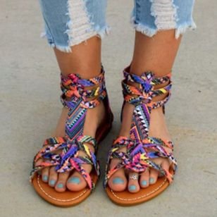 Women's Zipper Flats Leatherette Flat Heel Sandals_1