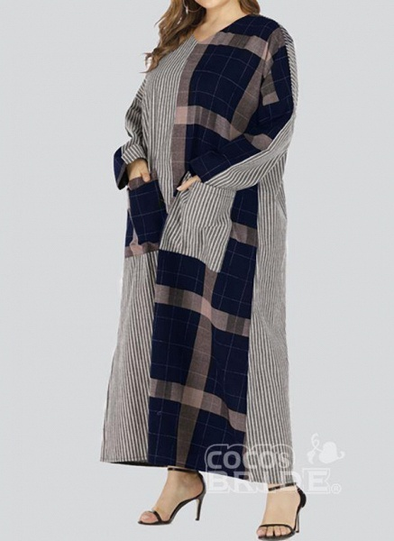 Black Plus Size Plaid V-Neckline Casual Pockets Maxi Plus Dress_5