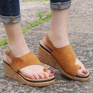 Women's Buckle Slingbacks Toe Ring Nubuck Wedge Heel Sandals_5