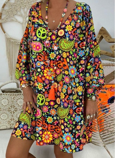 Plus Size Tunic Floral V-Neckline Casual Above Knee Plus Dress_5