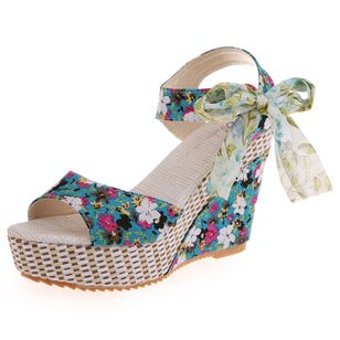 Women's Lace-up Flower Slingbacks Cloth Wedge Heel Sandals_3