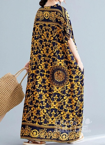 Gold Plus Size Tunic Color Block V-Neckline Casual Maxi Plus Dress_3