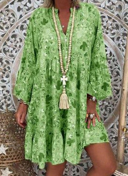 Green Plus Size Tunic Floral V-Neckline Casual Above Knee Plus Dress_1