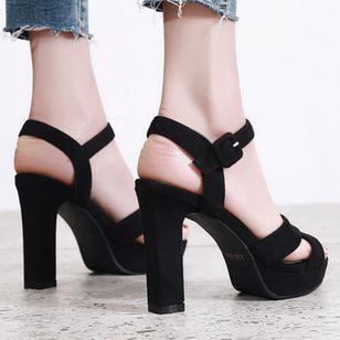 Women's Ankle Strap Heels Nubuck Chunky Heel Sandals_1
