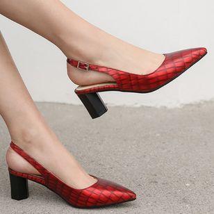 Women's Buckle Pointed Toe Heels Leatherette Chunky Heel Sandals_3