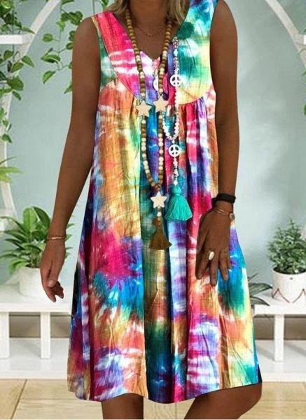 Multicolor Plus Size Tunic Color Block V-Neckline Casual Knee-Length Plus Dress_1