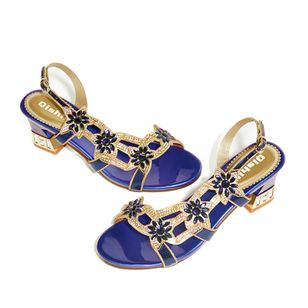Women's Rhinestone Slingbacks Low Heel Sandals_5