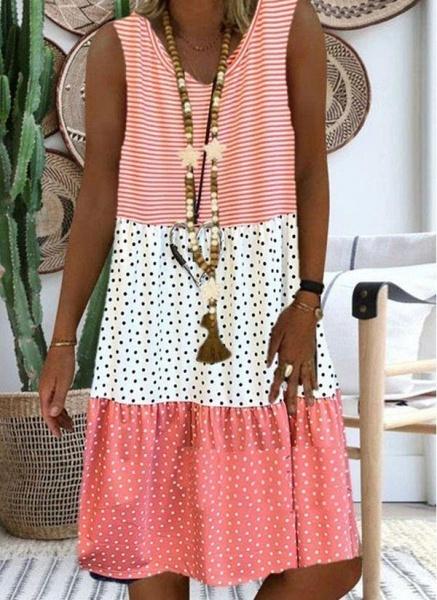 Red Plus Size Tunic Polka Dot V-Neckline Casual Knee-Length Plus Dress_2