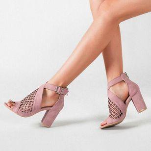 Women's Net Surface Buckle Ankle Strap Peep Toe Chunky Heel Sandals_4