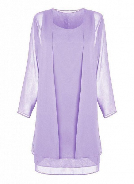 Purple Plus Size Tunic Solid Round Neckline Elegant Wrap Plus Dress_1