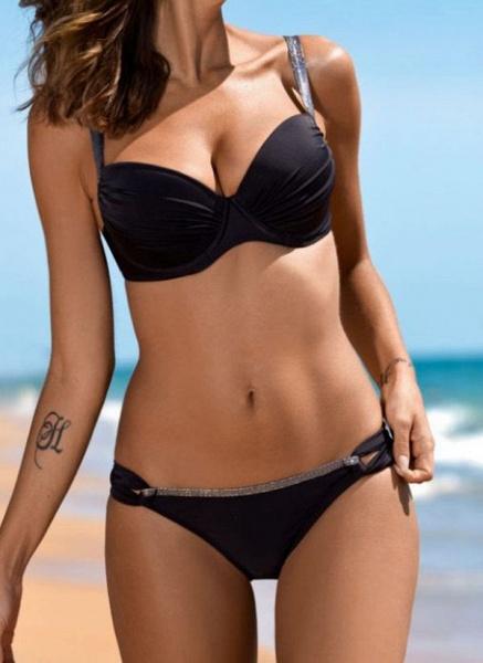 Polyester Solid Bikinis Swimwear_1