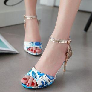 Women's Beading Buckle Heels Leatherette Stiletto Heel Sandals_3