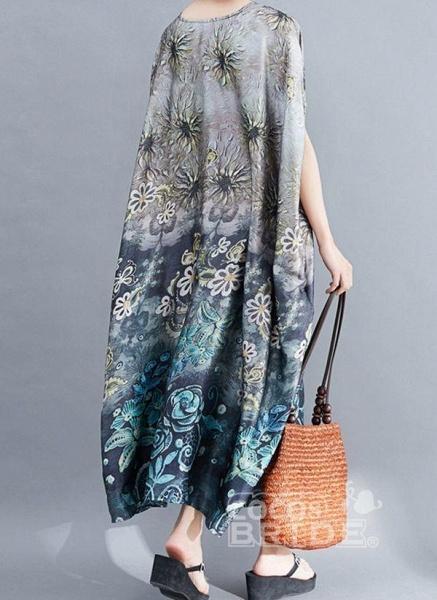 Gray Plus Size Tunic Floral Round Neckline Casual Pockets Plus Dress_2