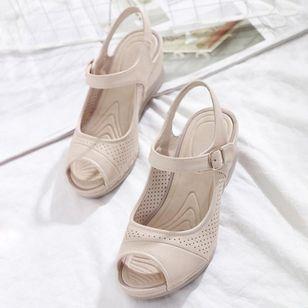 Women's Buckle Hollow-out Peep Toe Slingbacks Wedge Heel Sandals_1