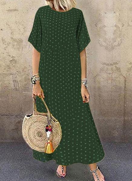 Green Plus Size Polka Dot Round Neckline Casual Maxi Shift Dress Plus Dress_1