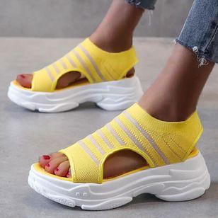 Women's Mesh Round Toe Fabric Flat Heel Sandals_2