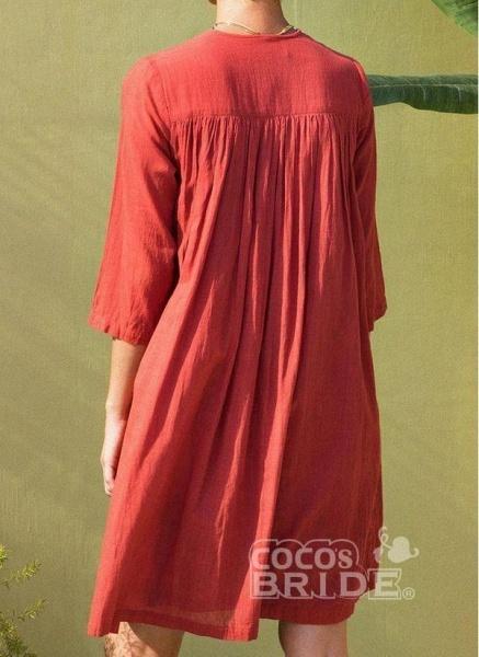 Orange Plus Size Tunic Solid V-Neckline Casual Above Knee Plus Dress_4