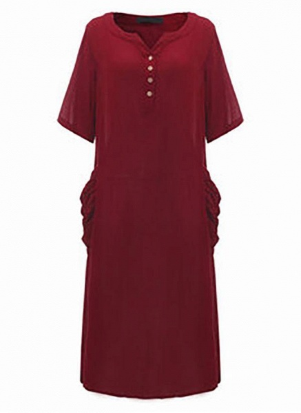 Dark Blue Plus Size Solid Casual Pockets Maxi Shift Dress Plus Dress_3