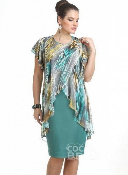 Green Plus Size Color Block Round Neckline Elegant Knee-Length X-line Dress Plus Dress_2