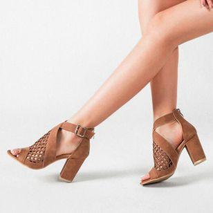 Women's Net Surface Buckle Ankle Strap Peep Toe Chunky Heel Sandals_8