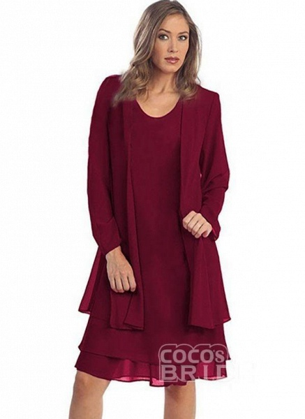 Burgundy Plus Size Solid Round Neckline Elegant Knee-Length Shift Dress Plus Dress_8